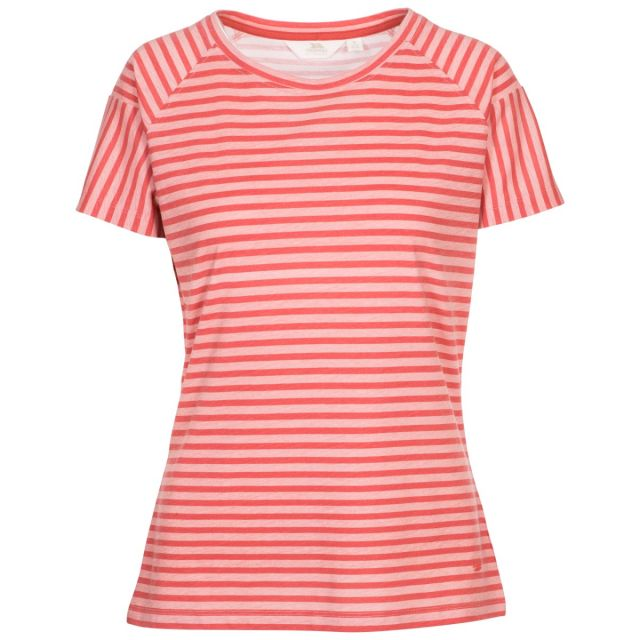 Ani Women's Printed T-Shirt Rhubarb Printed Stripe, Front view on mannequin
