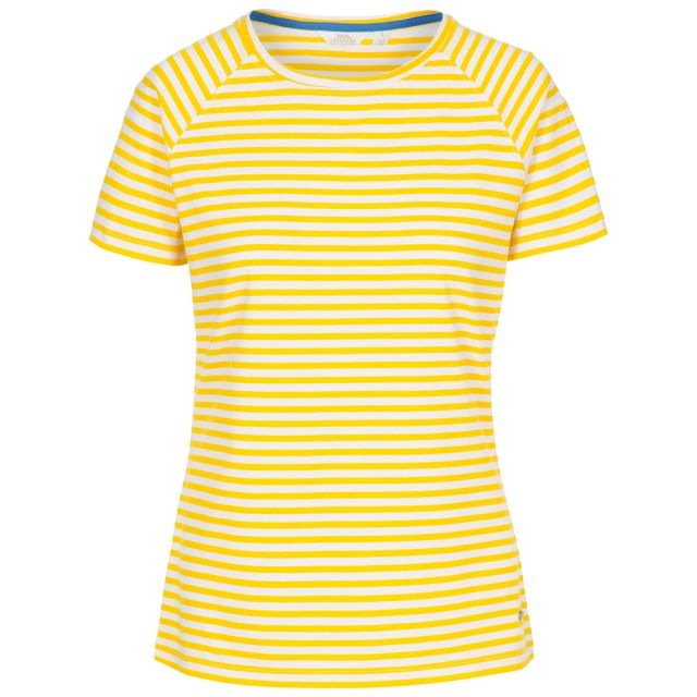 Ani Women's Printed T-Shirt in Yellow, Front view on mannequin
