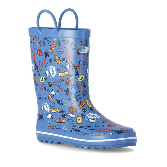 Trespass Kids Wellies Pull-handles Printed Apolloton Blue, Angled view of footwear