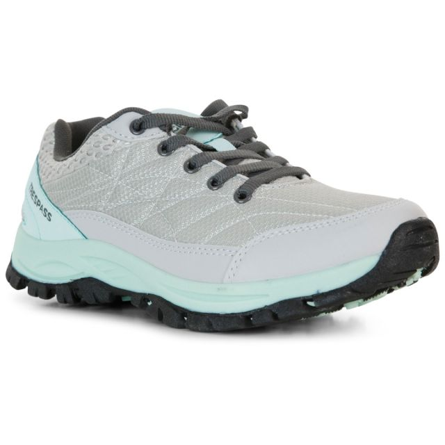 Aquine Women's Lightweight Walking Trainers in Grey, Angled view of footwear