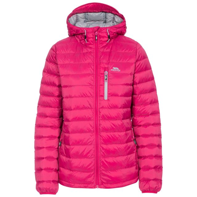 Arabel Women's Hooded Down Packaway Jacket in Pink, Front view on mannequin