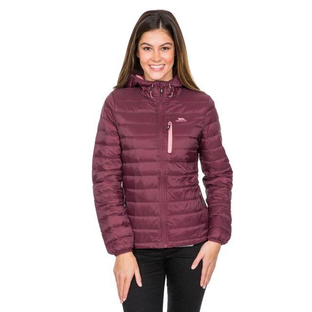 Arabel Women's Hooded Down Packaway Jacket in Purple
