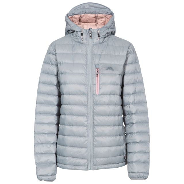 Trespass Womens Down Packaway Jacket with Hood Arabel Grey, Front view on mannequin