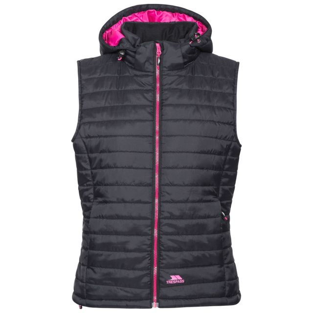 Trespass Womens Hooded Padded Gilet Aretha Black, Front view on mannequin