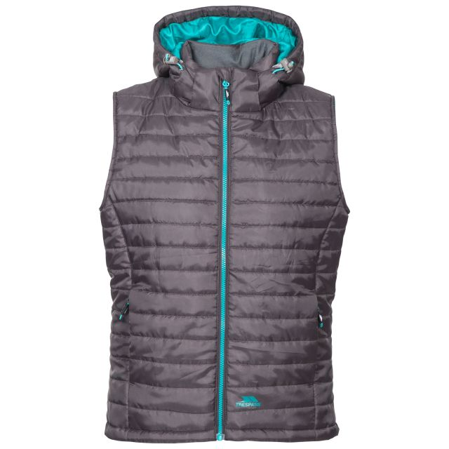 Trespass Womens Hooded Padded Gilet Aretha Carbon, Front view on mannequin