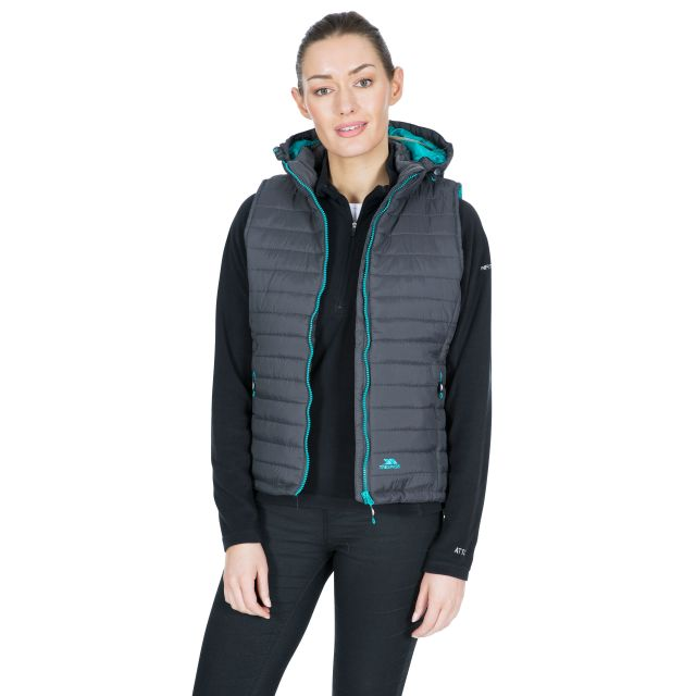 Trespass Womens Hooded Padded Gilet Aretha Carbon