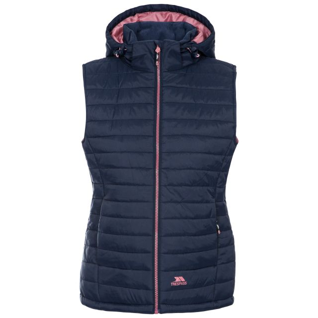 Trespass Womens Hooded Padded Gilet Aretha Navy Dusty Rose, Front view on mannequin