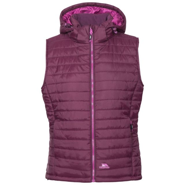 Trespass Womens Hooded Padded Gilet Aretha Potent Purple, Front view on mannequin
