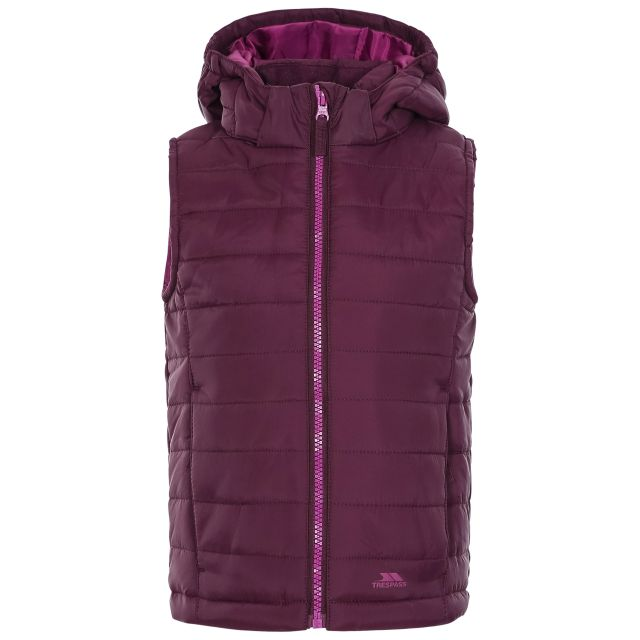 Aretha Kids' Casual Gilet in Purple, Back view on mannequin
