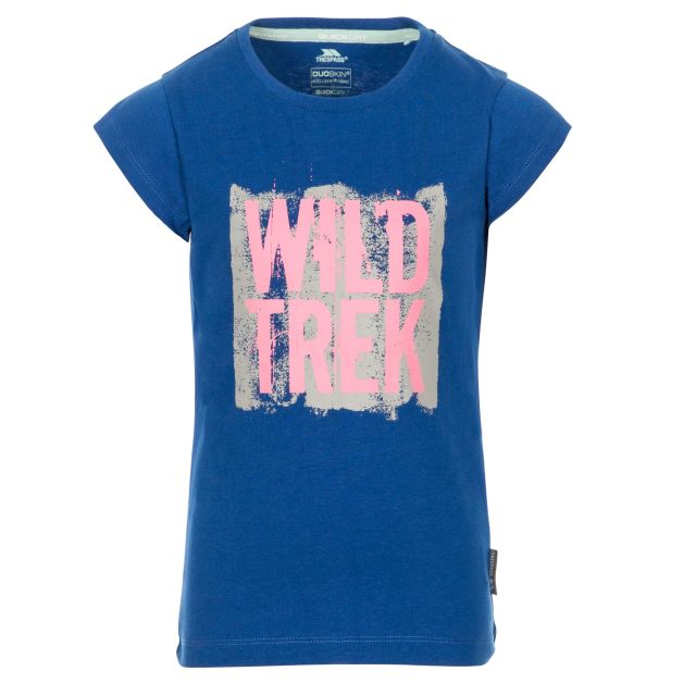 Arriia Kids' Printed T-Shirt in Blue, Front view on mannequin