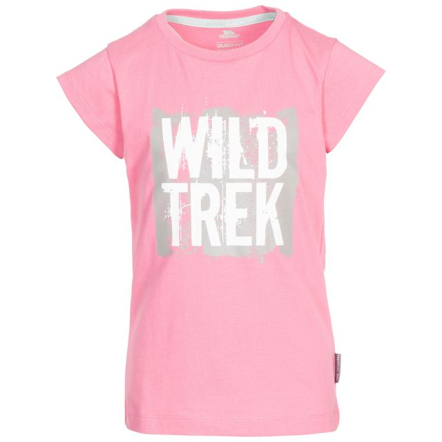 Arriia Kids' Printed T-Shirt in Pink, Front view on mannequin