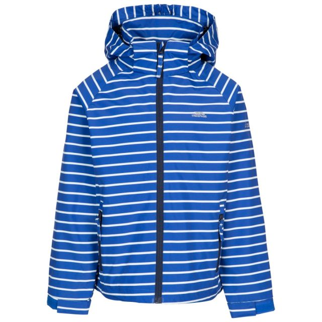 Trespass Kids' Printed Waterproof Jacket Arrival Blue, Front view on mannequin