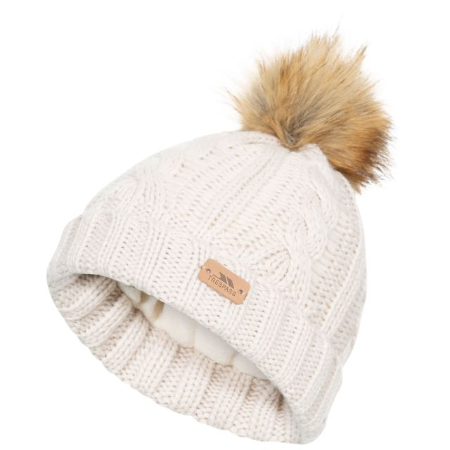 Ashleigh Kids' Fleece Lined Bobble Hat in Tan, Hat at angled view