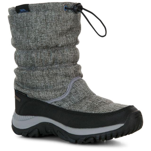 Trespass Womens Snow Boots Waterproof Fleece Lined Ashra Grey, Angled view of footwear