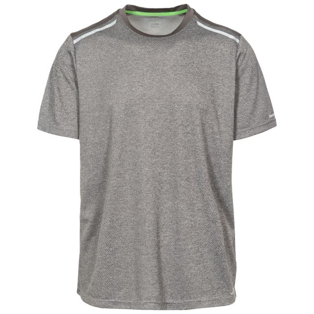 Astin Men's Quick Dry Active T-shirt in Grey, Front view on mannequin