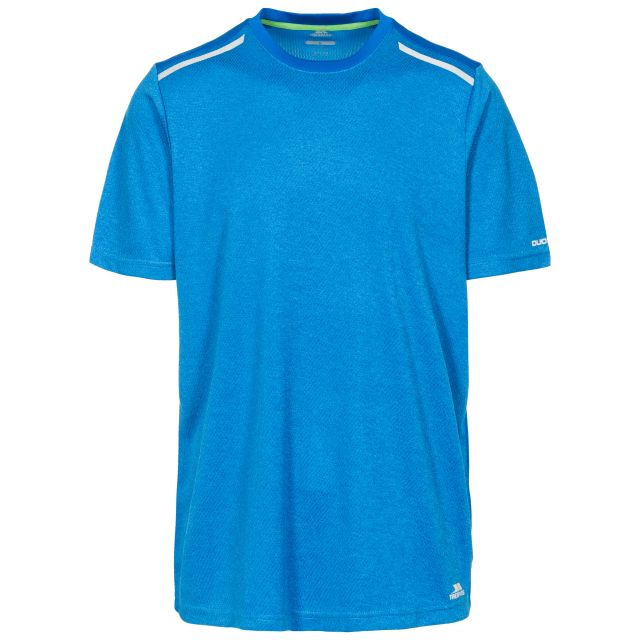 Astin Men's Quick Dry Active T-shirt in Blue, Front view on mannequin