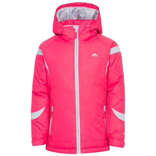 Avast Girls' Ski Jacket in Pink, Front view on mannequin