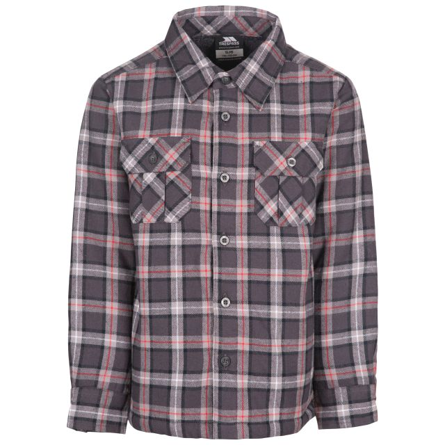 Trespass Kids' Gingham Checked Shirt Average Dark Grey Check, Front view on mannequin