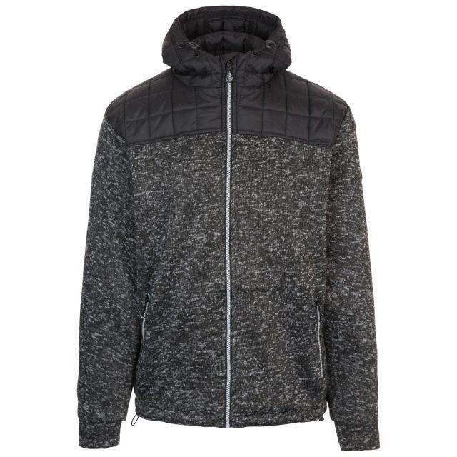 Axleydon Men's Hooded Fleece in Black, Front view on mannequin