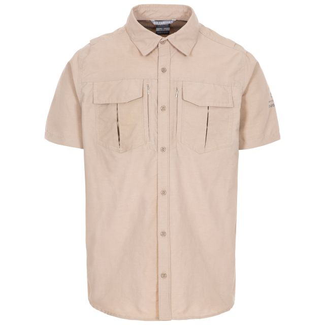 Baddenotch Men's Travel Shirt  in Beige