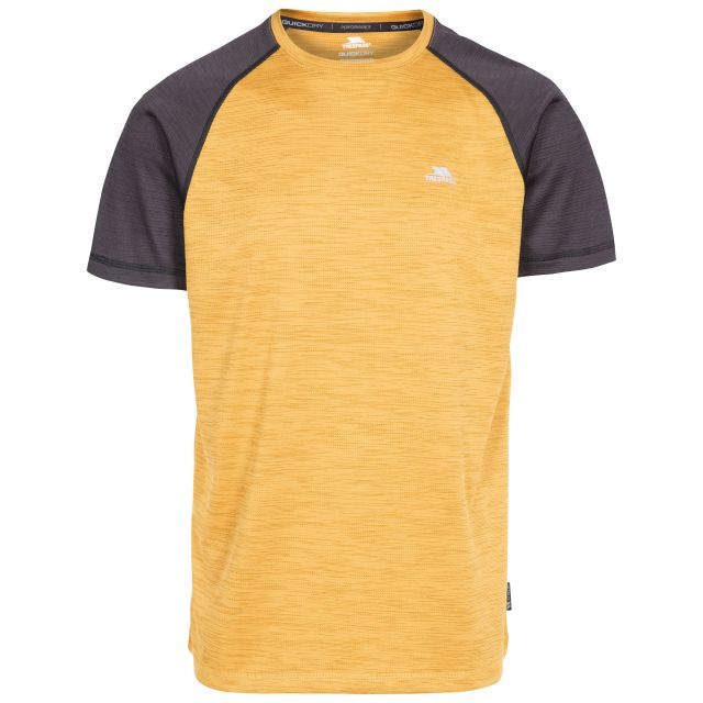 Bagbruff Men's Active T-Shirt in Yellow, Front view on mannequin