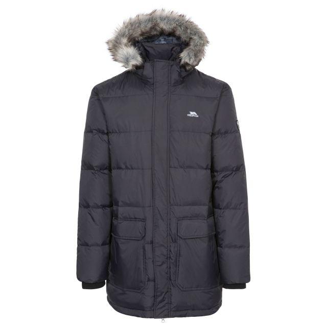 Baird Men's Down Parka Jacket - BLK, Front view on mannequin