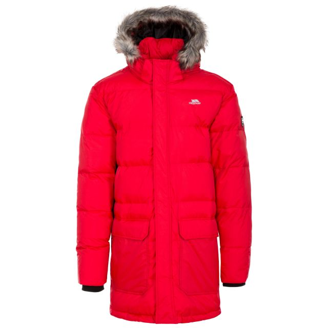Baird Men's Down Parka Jacket - RED, Front view on mannequin