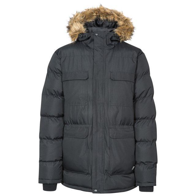 Baldwin Men's Padded Parka Jacket in Black, Front view on mannequin