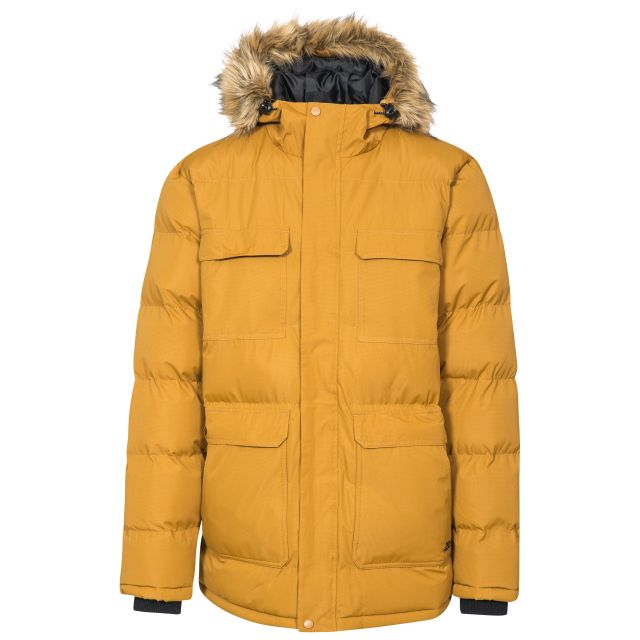 Baldwin Men's Padded Parka Jacket in Yellow, Front view on mannequin
