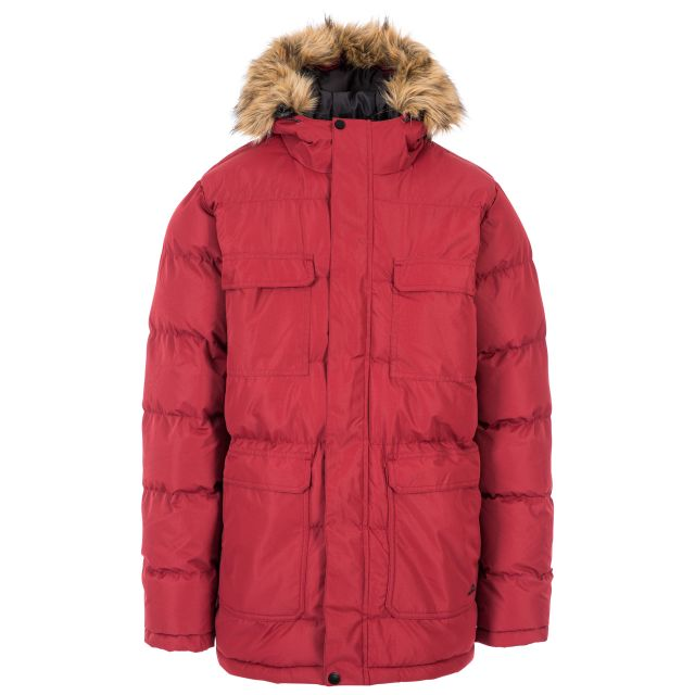 Baldwin Men's Padded Parka Jacket in Red, Front view on mannequin