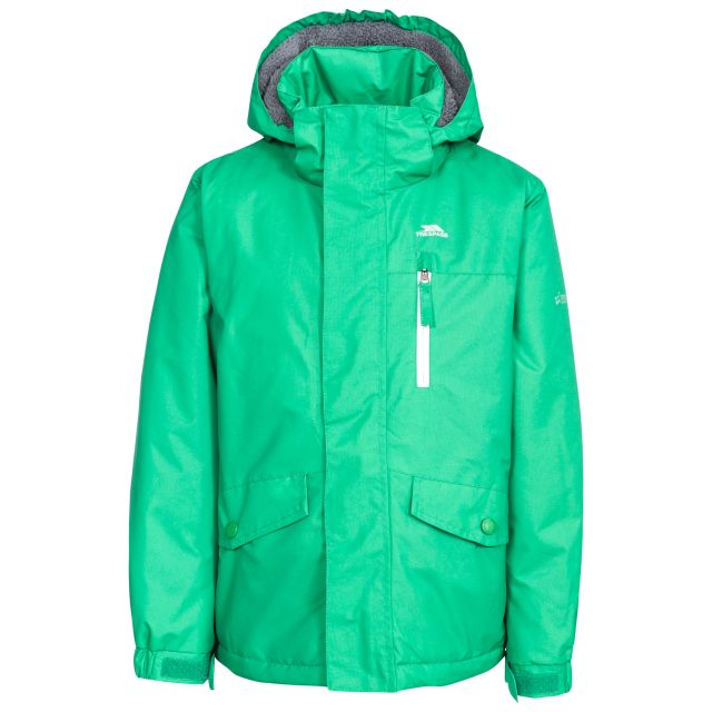 Ballast Kids' Padded Waterproof Jacket in Green, Front view on mannequin