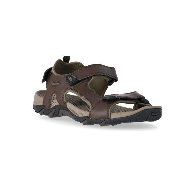 Barkon Men's Walking Sandals in Brown, Angled view of footwear
