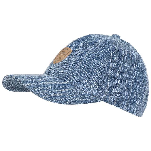 Barney Adults' Woven Denim Baseball Cap in Blue, Hat at angled view