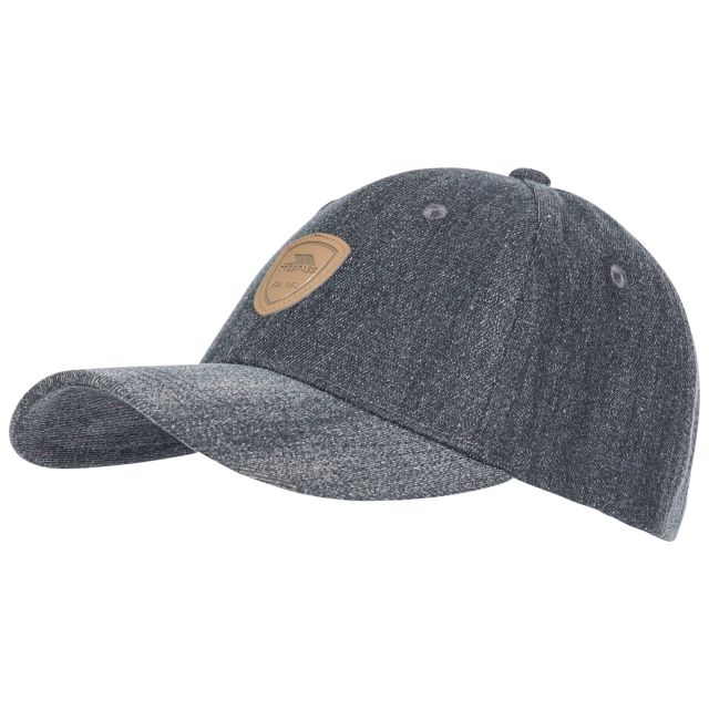 Barney Adults' Woven Denim Baseball Cap in Black, Front view of hat