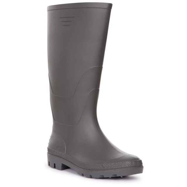 Trespass Men's Knee Length Welly Boots Beck Grey, Angled view of footwear