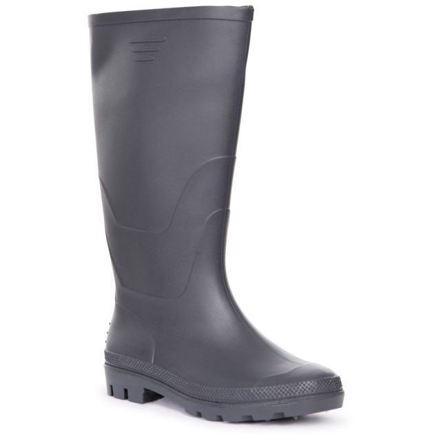 Trespass Men's Knee Length Welly Boots Beck Navy, Angled view of footwear