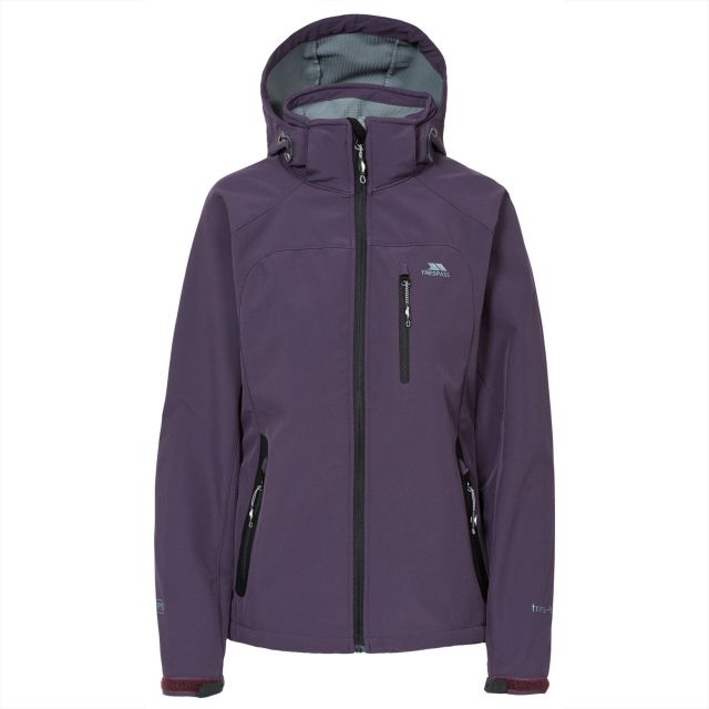 Trespass Womens Softshell Jacket Windproof Bela Blackcurrent, Front view on mannequin