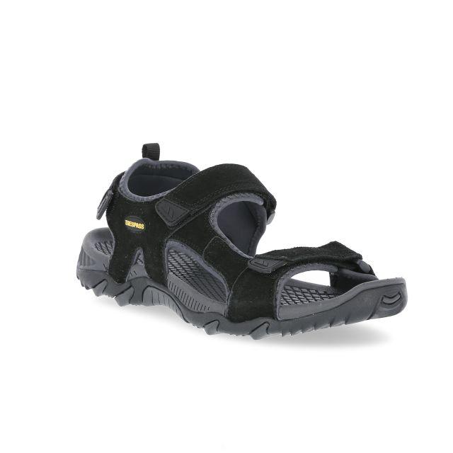 Belay Men's Walking Sandals in Black, Angled view of footwear
