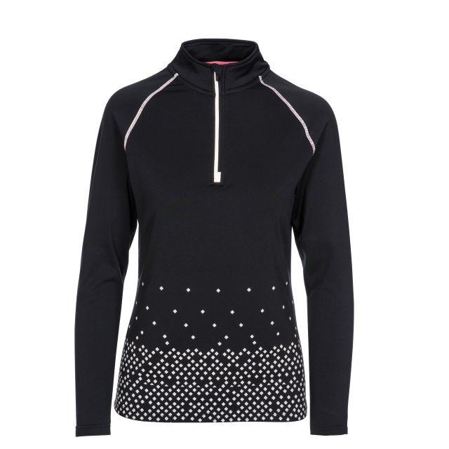 Belinda Women's 1/2 Zip Quick Dry Active Top in Black, Back view on mannequin