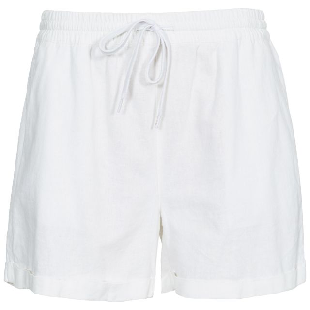 Belotti Women's Track Shorts  in White, Front view on mannequin