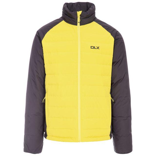 Benko Men's DLX Down Jacket in Neon Green, Front view on mannequin