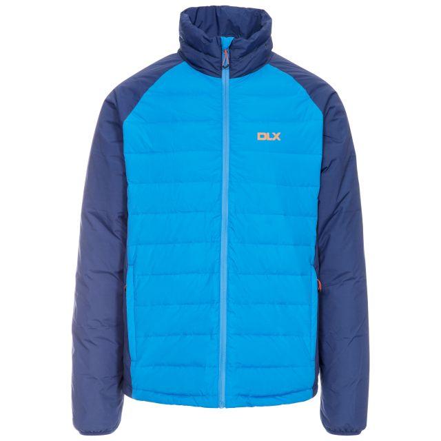 Benko Men's DLX Down Jacket in Blue, Front view on mannequin