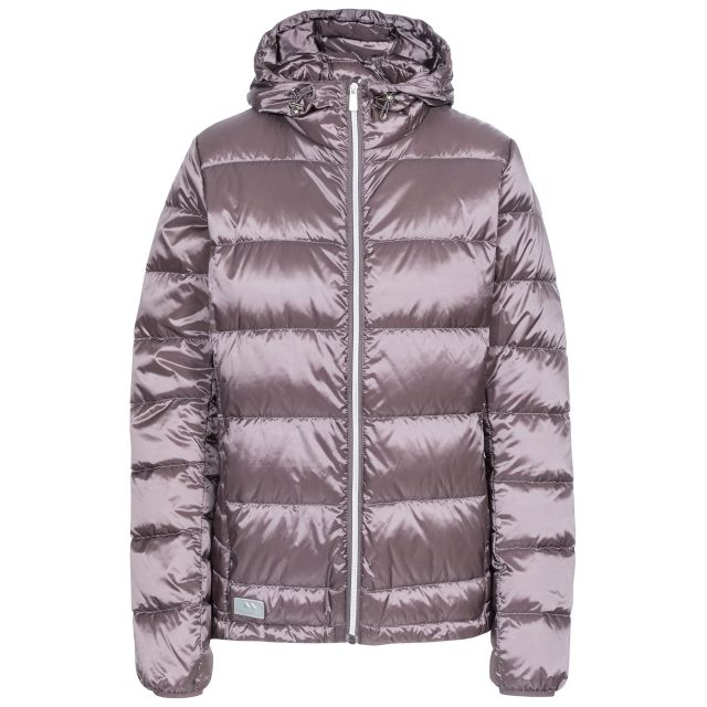 Trespass Womens Down Jacket with Hood Bernadette Light Purple, Front view on mannequin