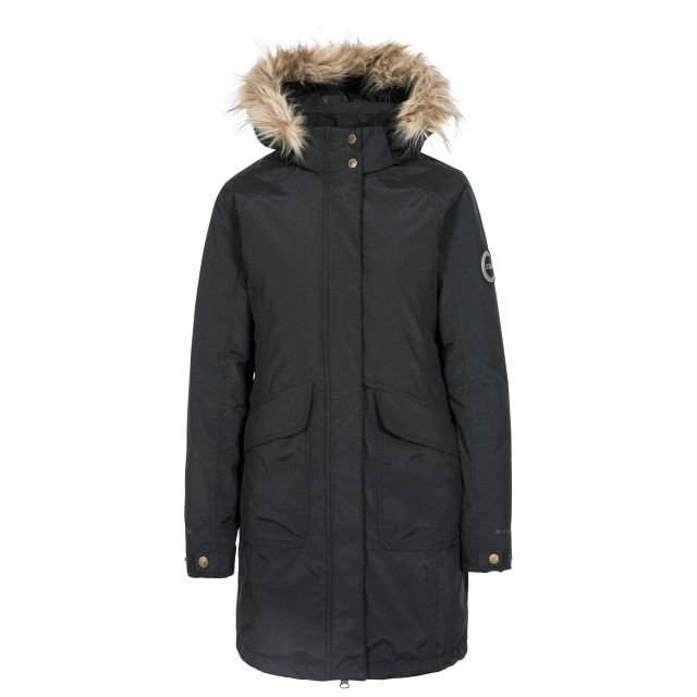 Bettany Women's DLX Waterproof Down Parka Jacket in Black, Front view on mannequin