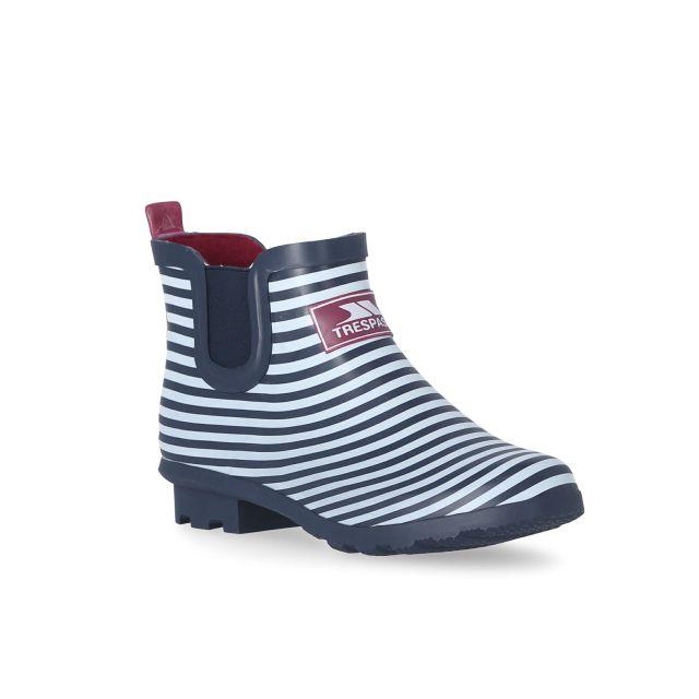 Women's Waterproof Ankle Wellies in Navy, Angled view of footwear