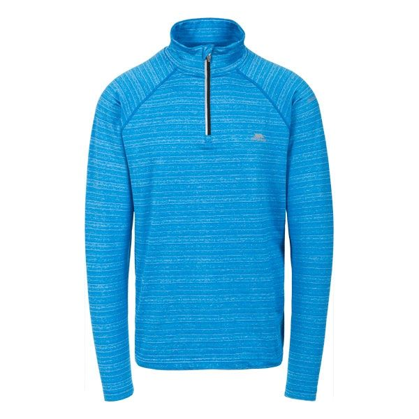 Birney Men's Quick Dry Active Top in Blue, Front view on mannequin