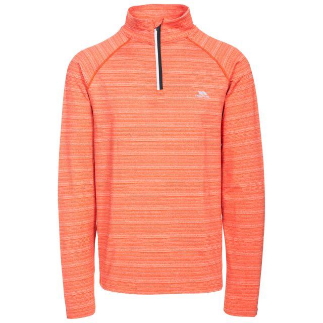 Birney Men's Quick Dry Active Top in Orange, Front view on mannequin