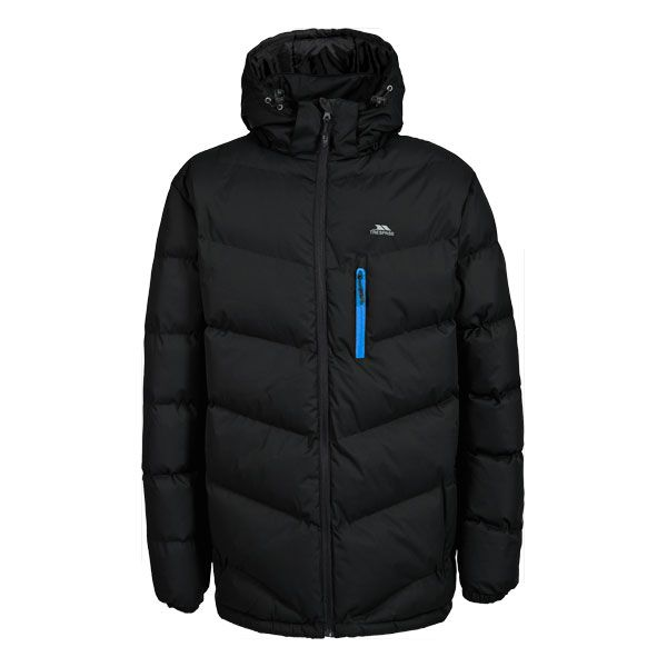 Blustery Men's Padded Casual Jacket in Black, Front view on mannequin