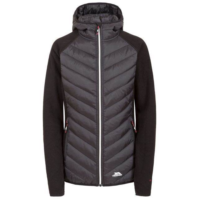 Boardwalk Women's Quilted Hooded Jacket in Black, Front view on mannequin