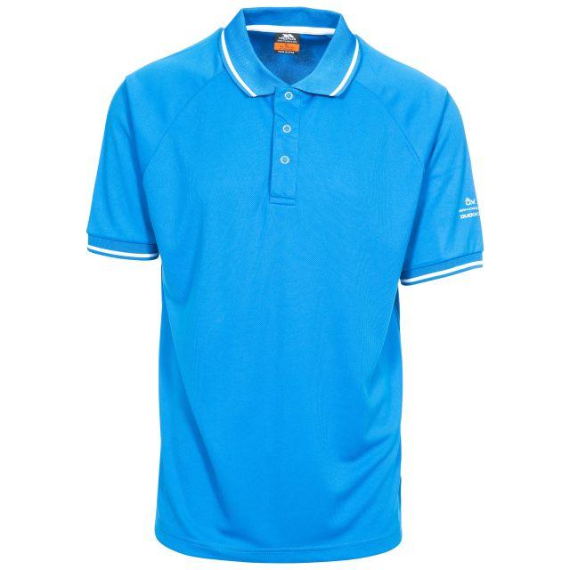 Bonington Men's Quick Dry Polo Shirt in Blue, Front view on mannequin